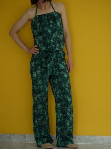 Liberty jumpsuit with patch pockets and tie-neck